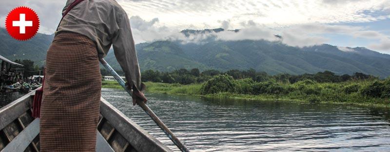 Jezero Inle je znano po posebnem načinu lovljenja rib , ki ga lahko vidite z ladjico po jezeru.