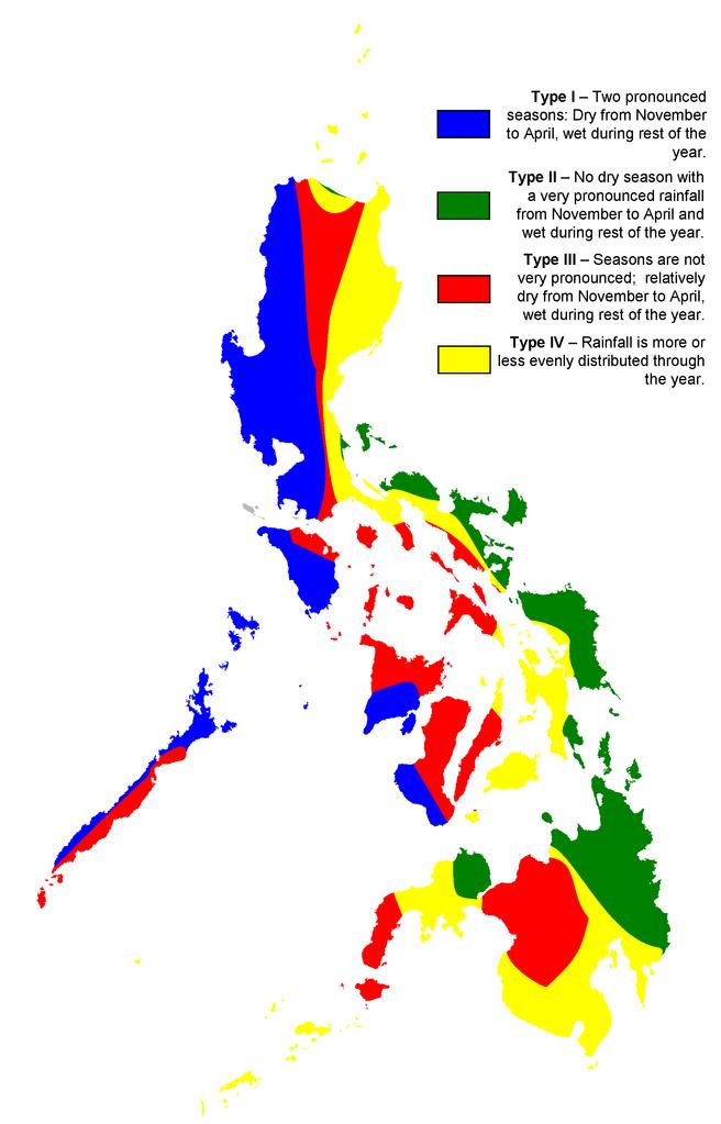 Vreme na Filipinih, po različnih območjih. vir: wikipedia